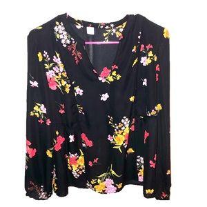 Old Navy black floral blouse